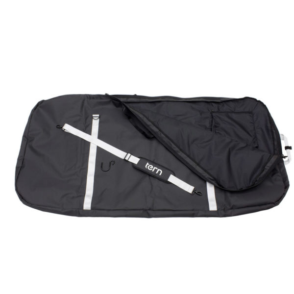 The Tern Body Bag comes with a padded shoulder strap and a hook to hang the bag vertically. A zipper pocket on the inside can store pedals or tools.